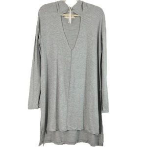 New Project Social T Cutout Side Slit Tunic Hoodie